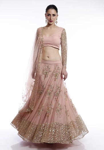 Astha Narang Peach and gold floral sequins embroidered Lehenga - The Grand Trunk