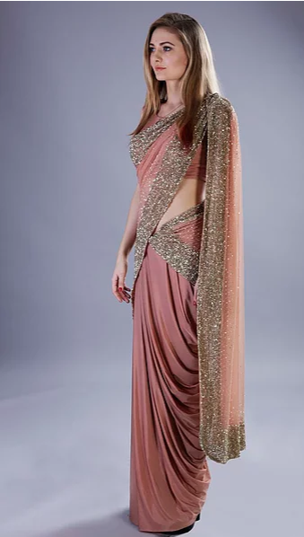 Astha Narang Rose Gold Shimmer Drape Saree - The Grand Trunk