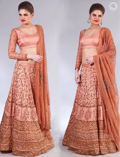 Astha Narang Rose gold sequins embroidered Lehenga - The Grand Trunk