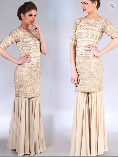 Astha Narang off white and gold embroidered kurta with Sharara set - The Grand Trunk