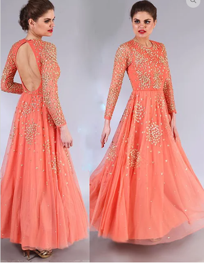 Astha Narang coral peach shimmer anarkali gown - The Grand Trunk