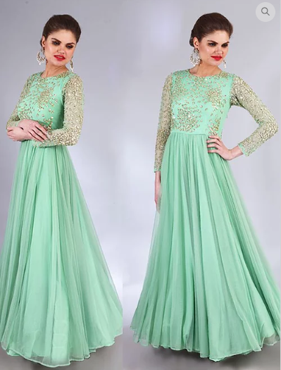 Astha Narang mint green embroidered anarkali - The Grand Trunk