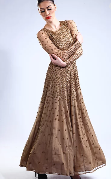 Astha Narang Dark nude sequins embellished gown - The Grand Trunk