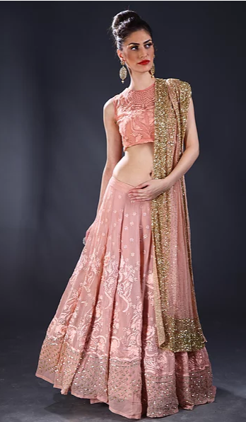 Astha Narang Peach thread and sequins embroidered Lehenga - The Grand Trunk