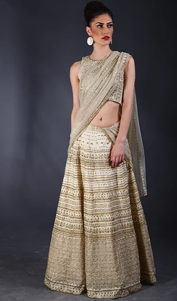 Astha Narang Cream sequins embellished Lehenga - The Grand Trunk
