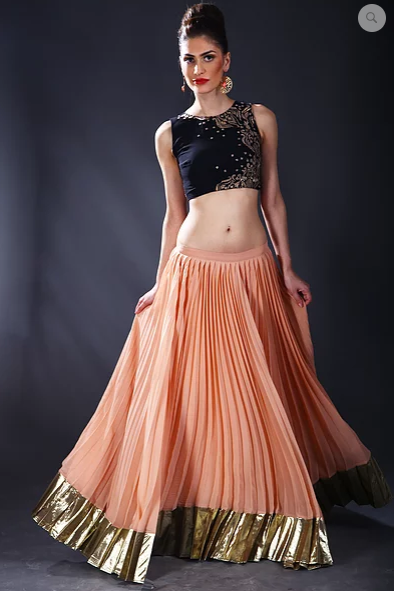 Astha Narang black and peach gold thread embroidered Lehenga - The Grand Trunk