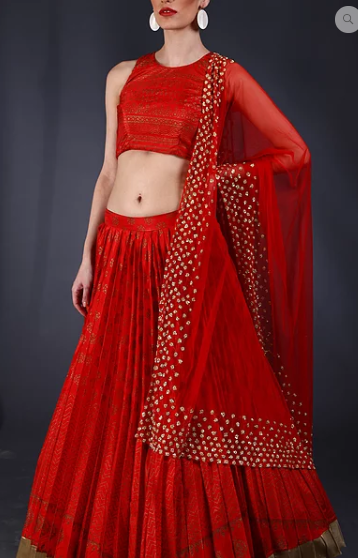 Astha Narang Red sequins embellished block printed Lehenga - The Grand Trunk