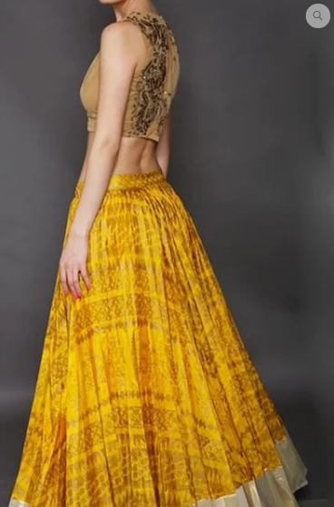 Astha Narang yellow block Printed Lehenga - The Grand Trunk