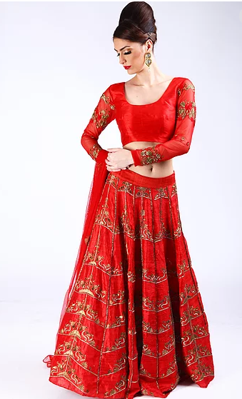 Astha Narang chilli Red antique gold embroidered Lehenga - The Grand Trunk