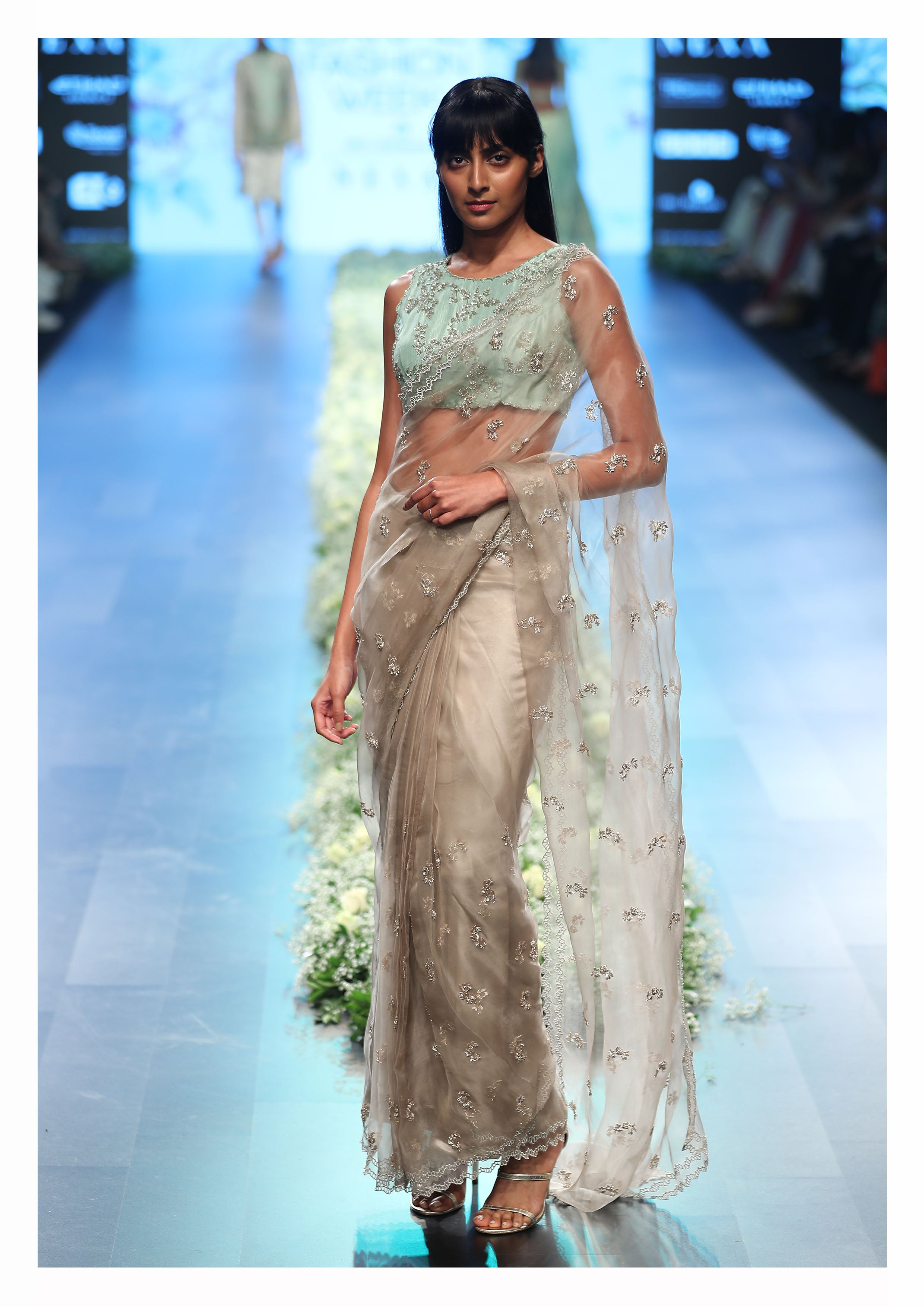 Grey Organza Sari with Silk Embroidered Blouse