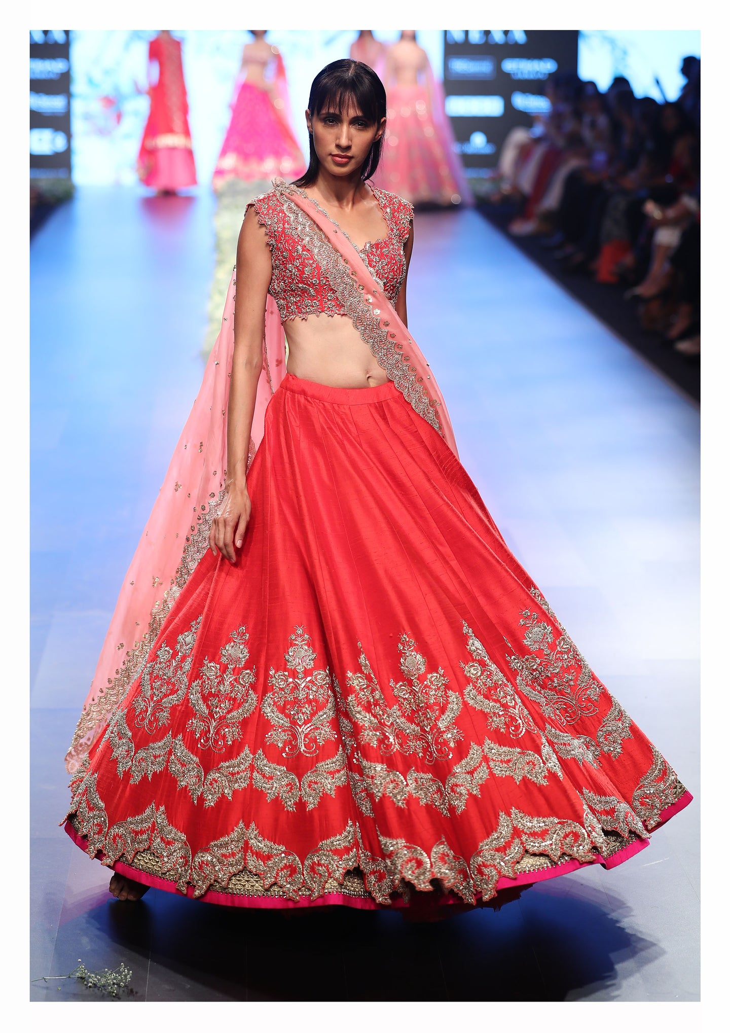 Blossom Red Raw Silk Zardozi Lehenga set - The Grand Trunk
