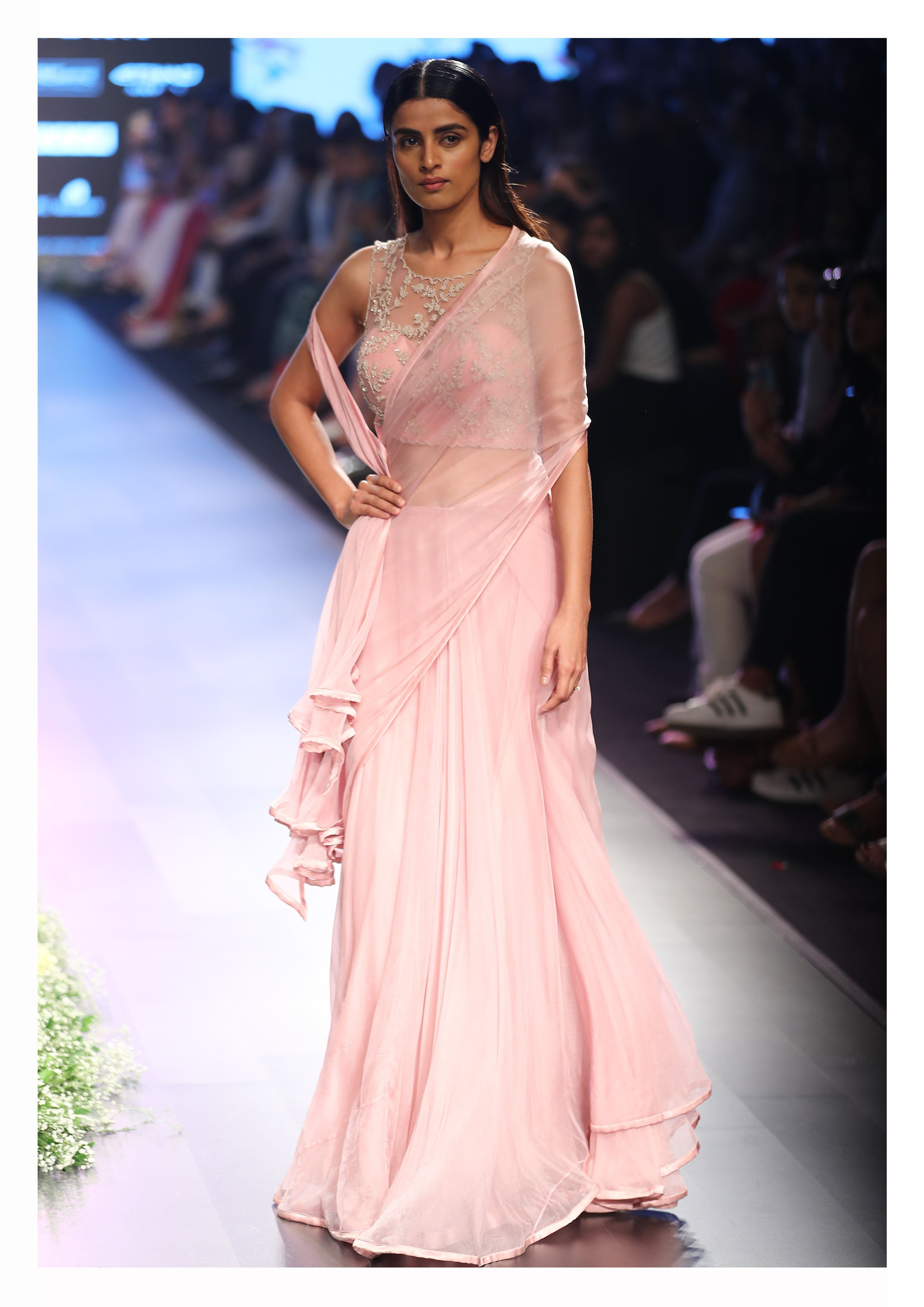 Powder Pink Pre-Draped Chiffon Sari with a Corset Blouse - The Grand Trunk