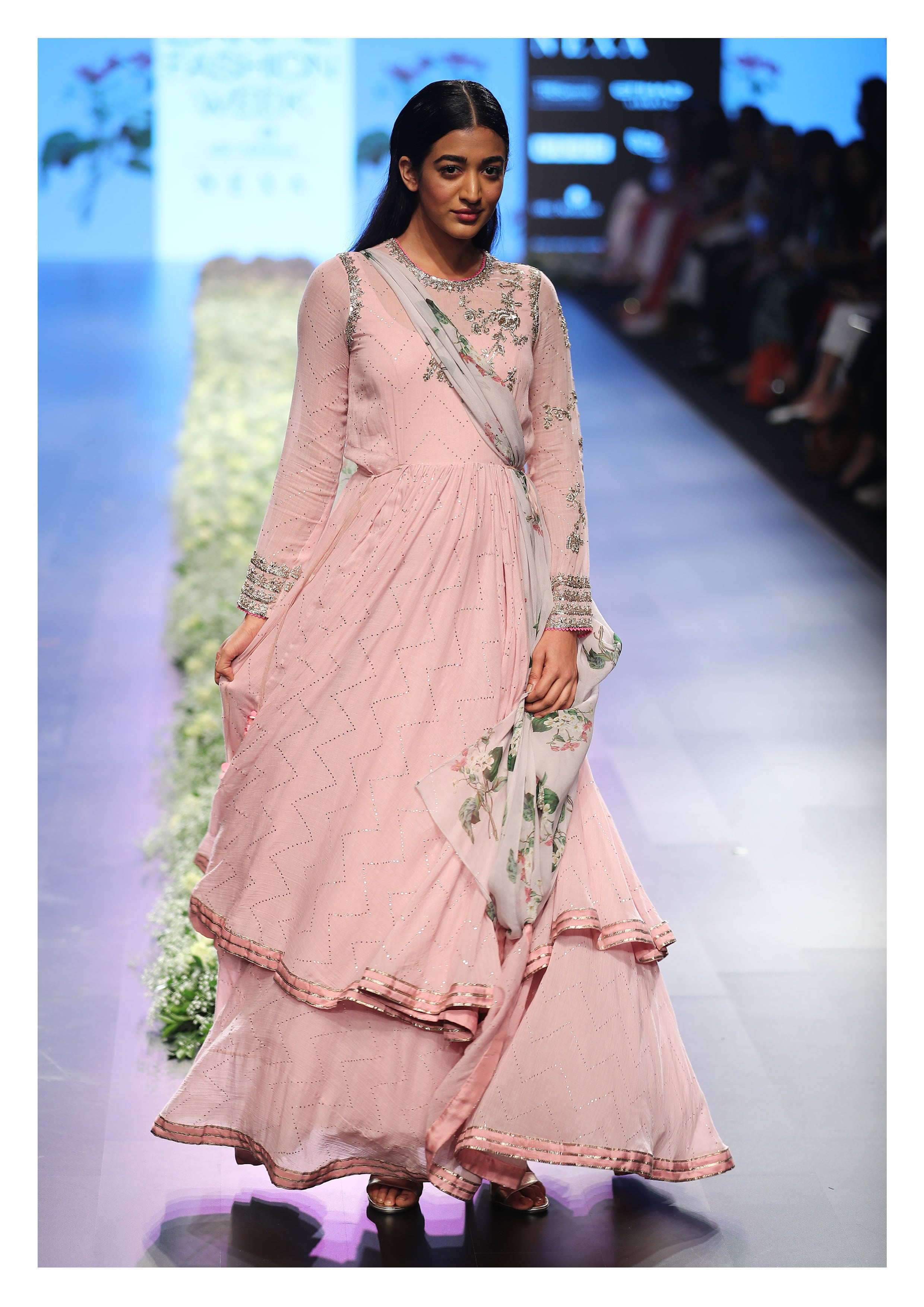 Mul-Mul Anarkali with Chiffon Embroidered Yoke - The Grand Trunk