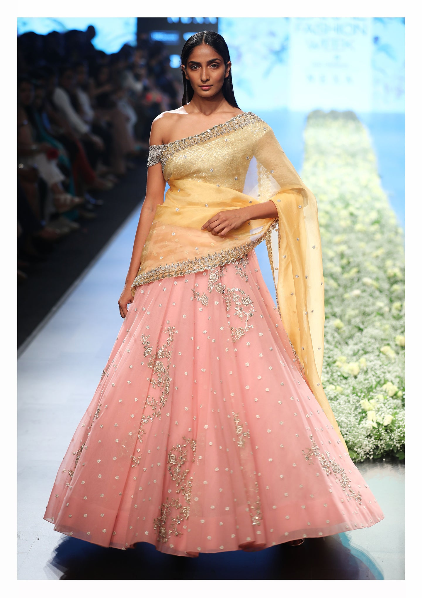 Pink net zardozi Lehenga set with Off-shoulder Blouse - The Grand Trunk