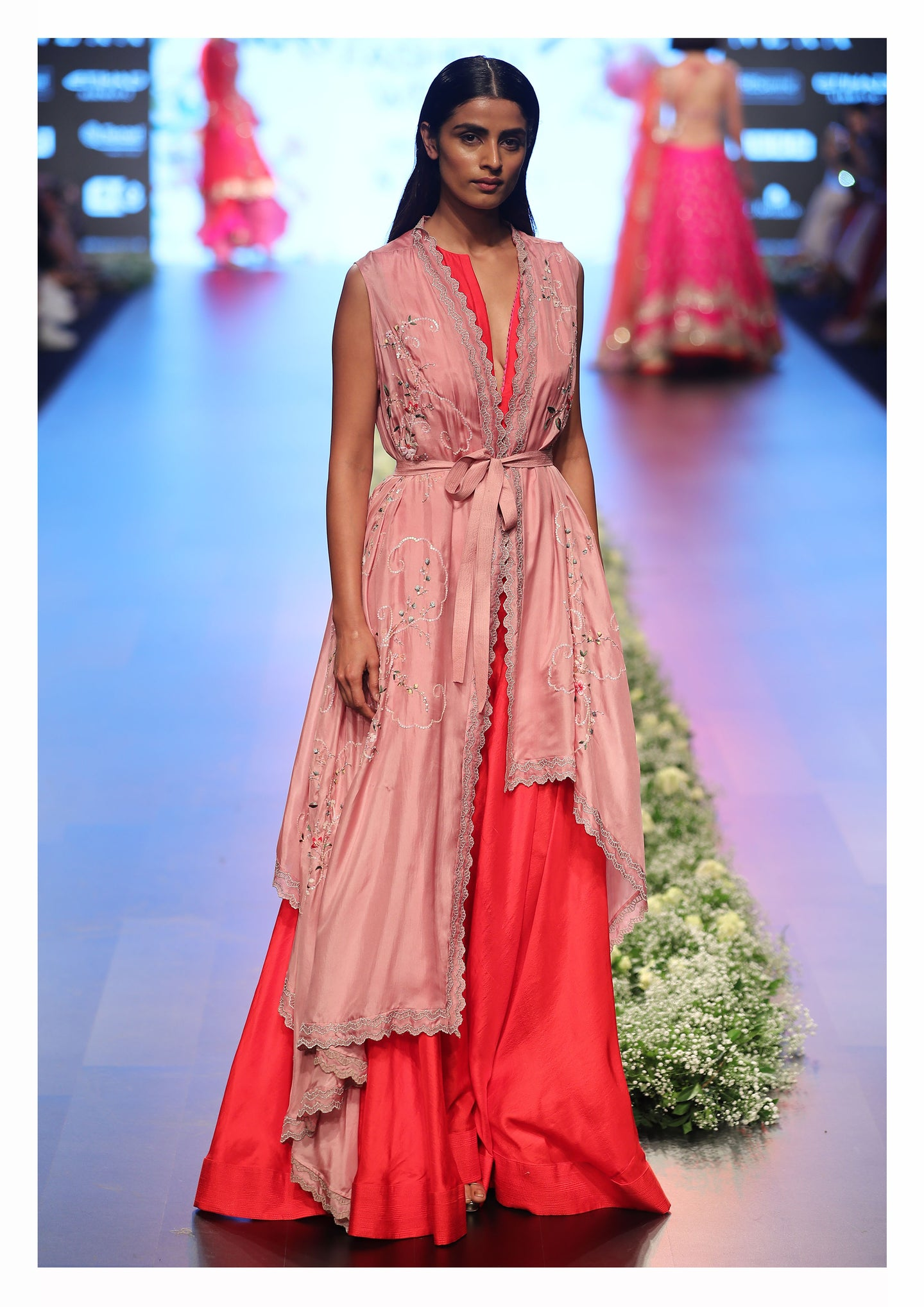 Red and Pink Flared Maxi Dress with Cape - The Grand Trunk