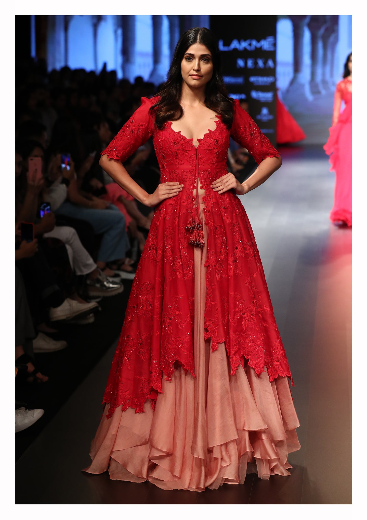 Lush Red Sequin Embroidered Asymmetric Kurta with Layered Lehenga - The Grand Trunk