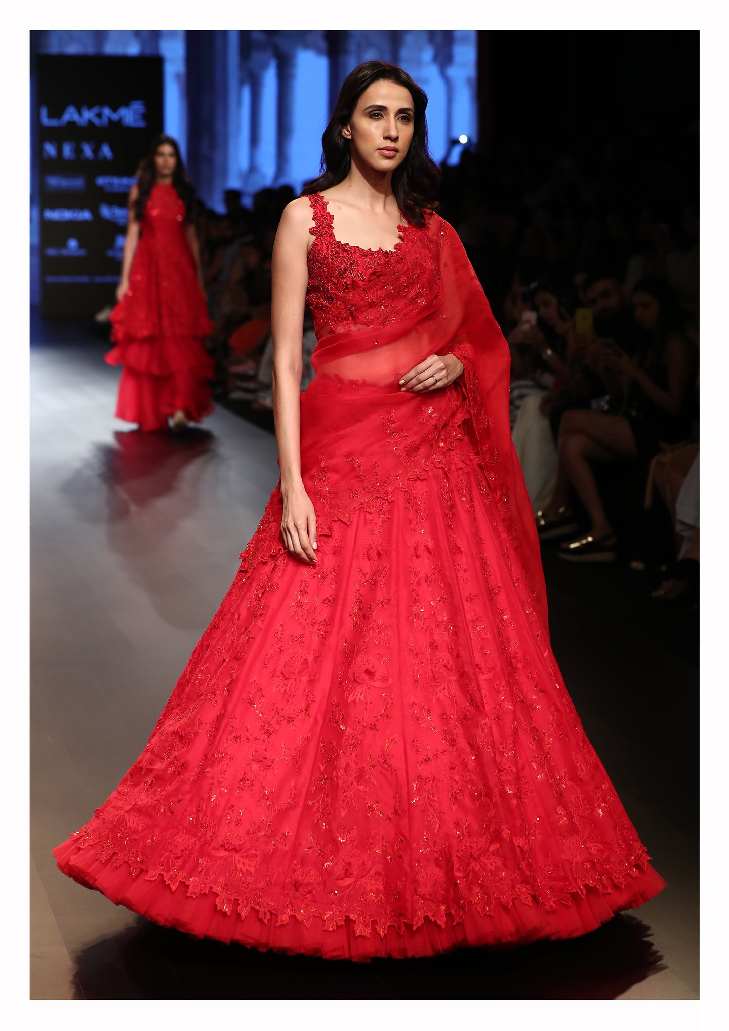 Royal Red Sequin embroidered Lehenga with Sleeveless Blouse and Dupatta - The Grand Trunk