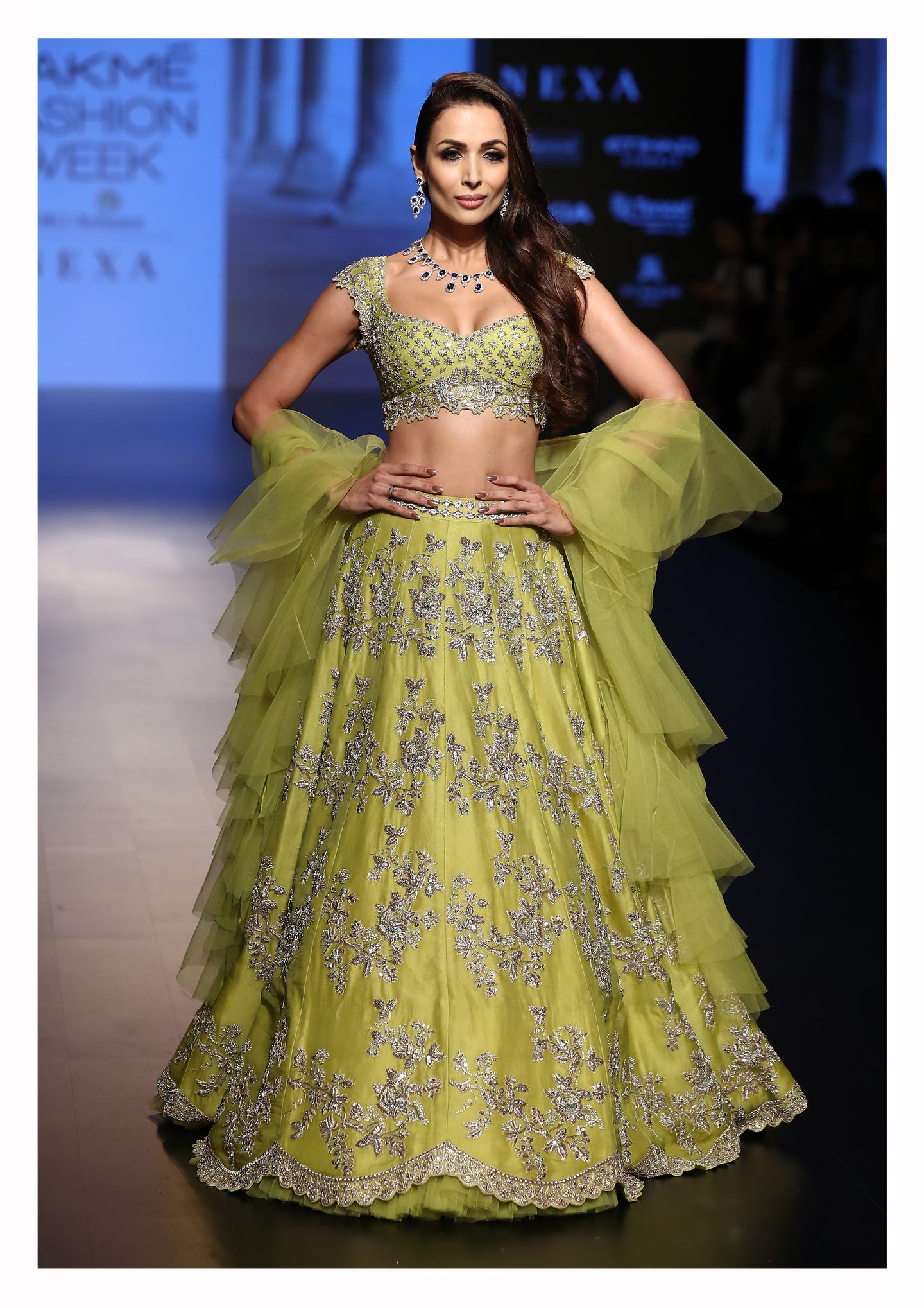 Apple Green Sequin & Dabka Embroidered Lehenga with Blouse and Fringe Dupatta - The Grand Trunk