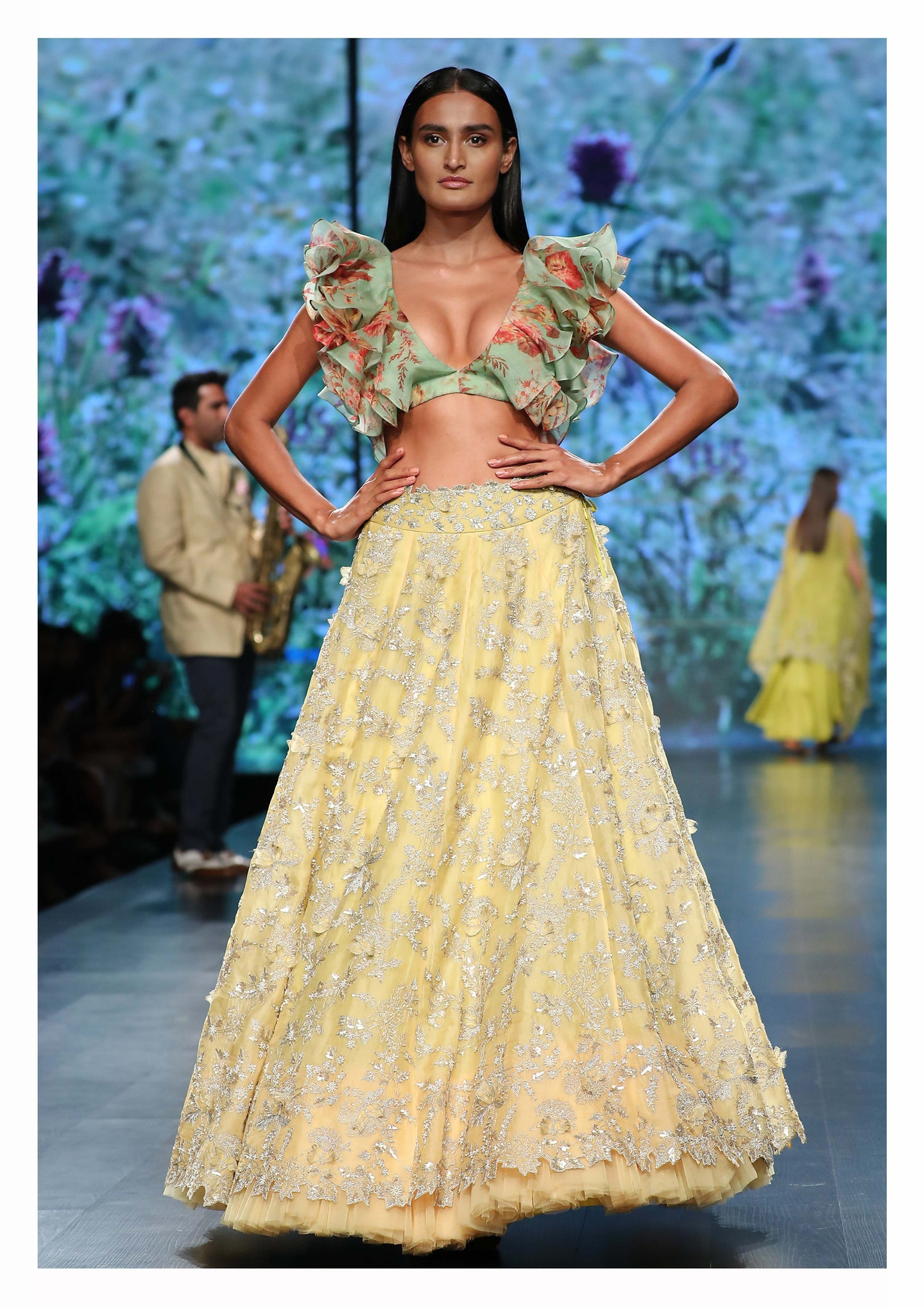Anushree Reddy Zari embroidered Lehenga set with Contemporary Ruffle Blouse - The Grand Trunk