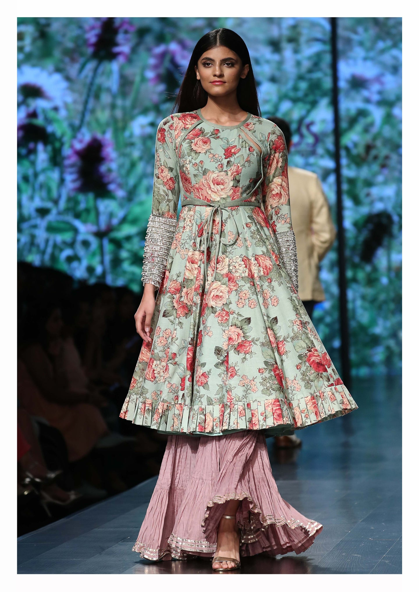 Floral Printed Kurta lehenga set - The Grand Trunk