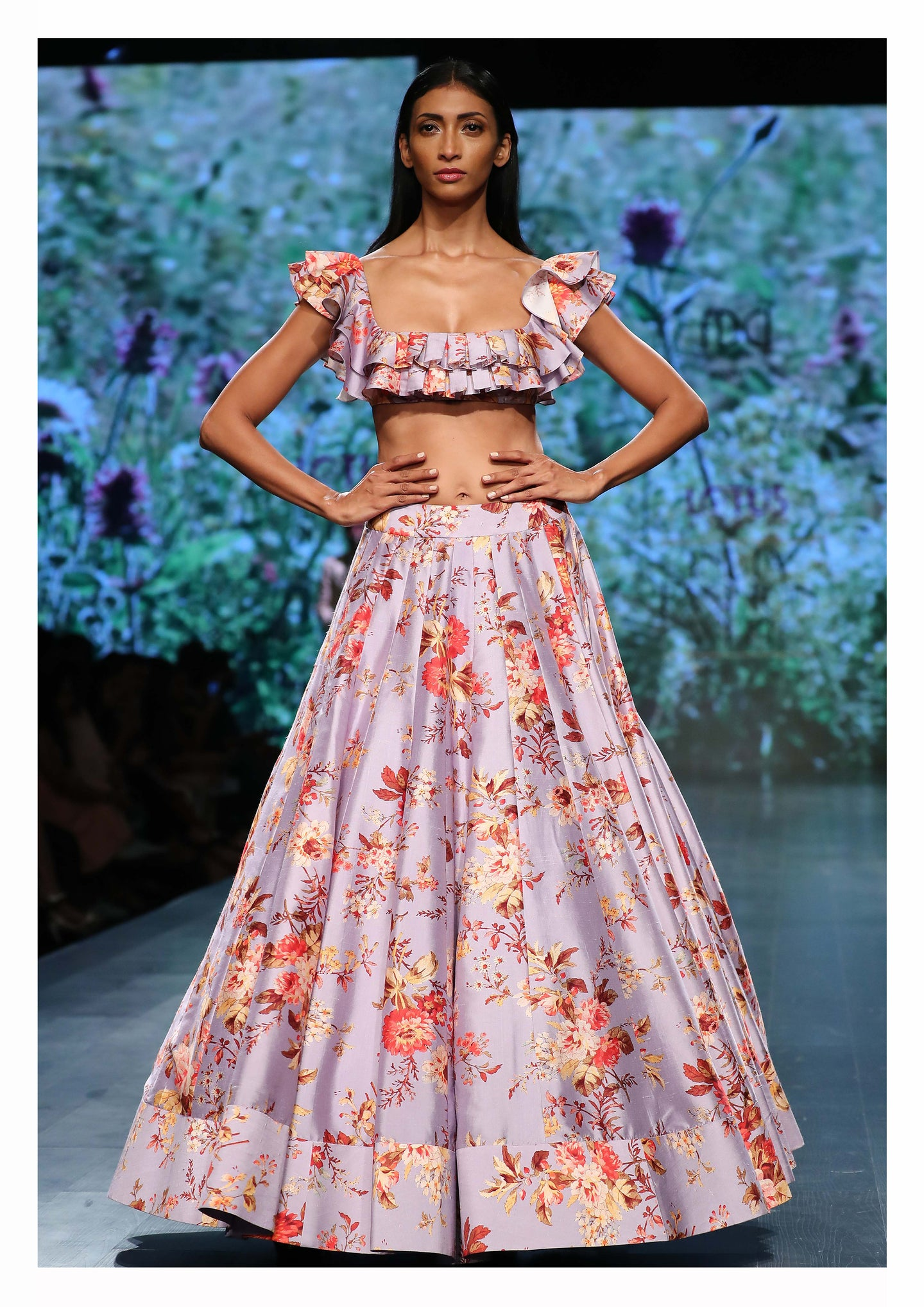 Floral Printed Box Pleated Lehenga set - The Grand Trunk