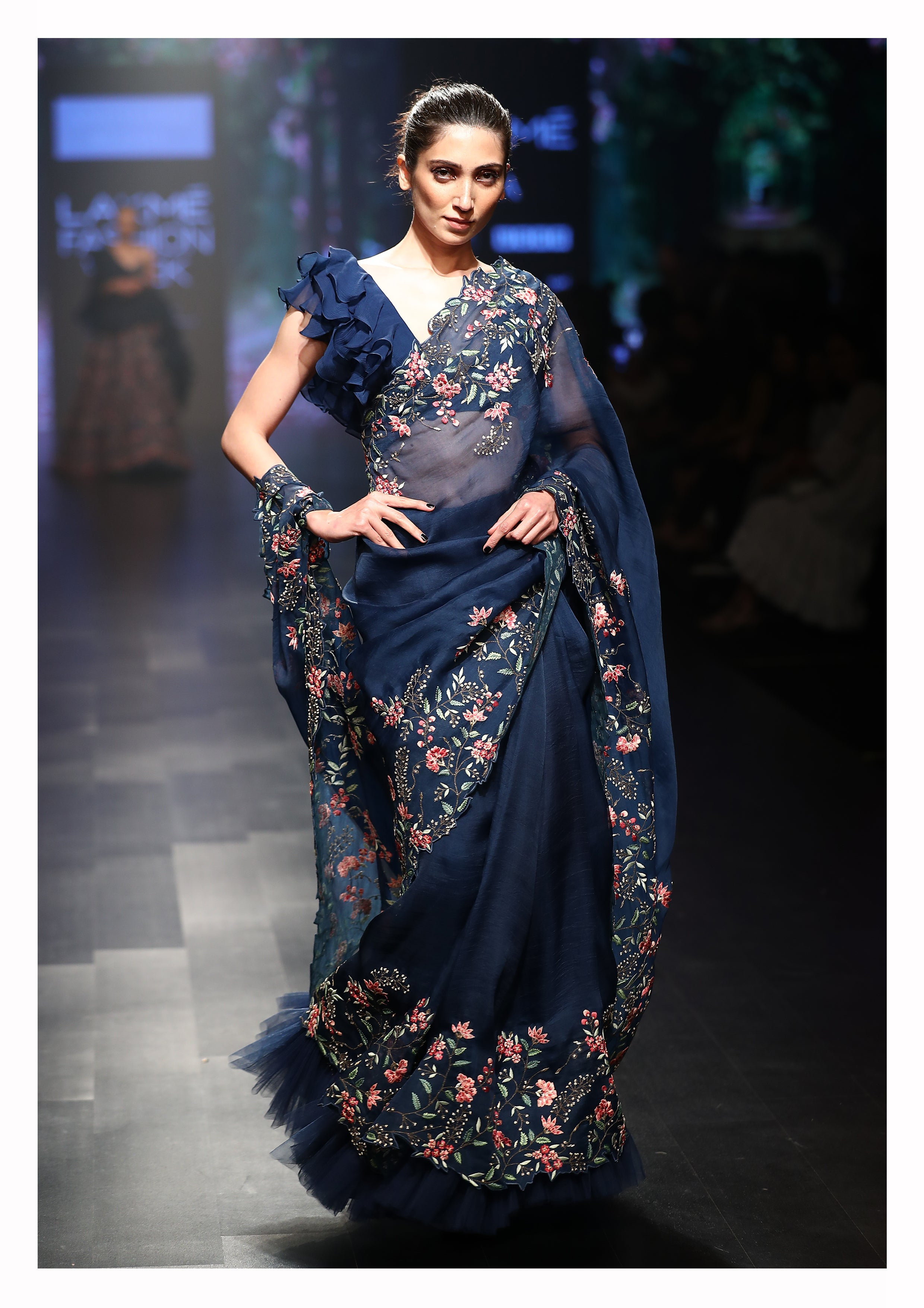 Ruffle Blouse With Floral Embroidered Saree - The Grand Trunk