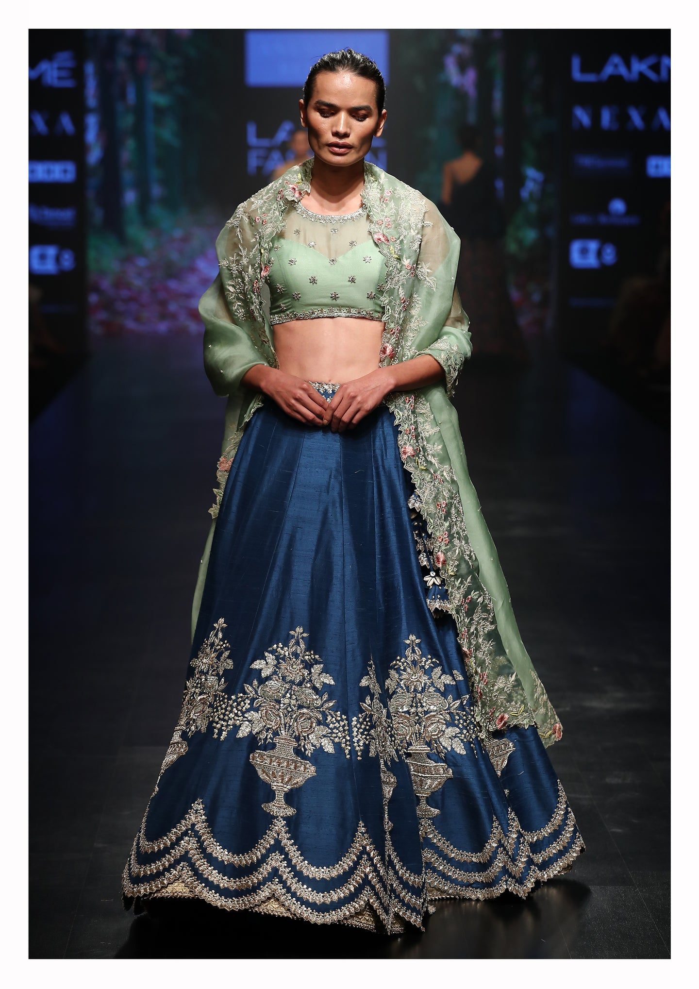 Buta Embroidered Lehenga With Blouse & Dupatta - The Grand Trunk