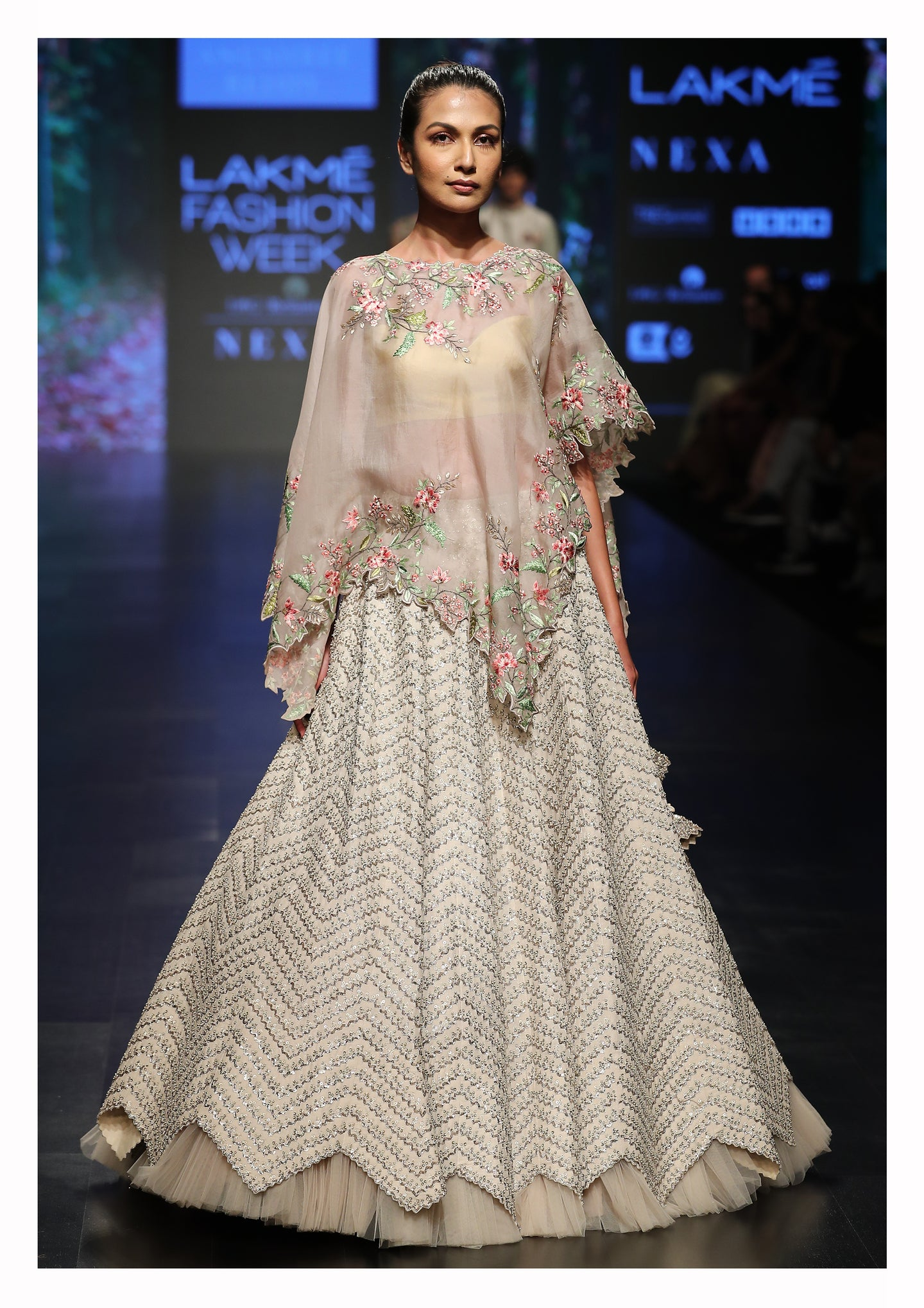 Ivory Embroidered Lehenga With Cutwork Cape - The Grand Trunk