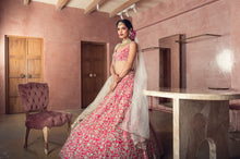 Load image into Gallery viewer, Red rawsilk Zardozi Embroidery Lehenga set - The Grand Trunk