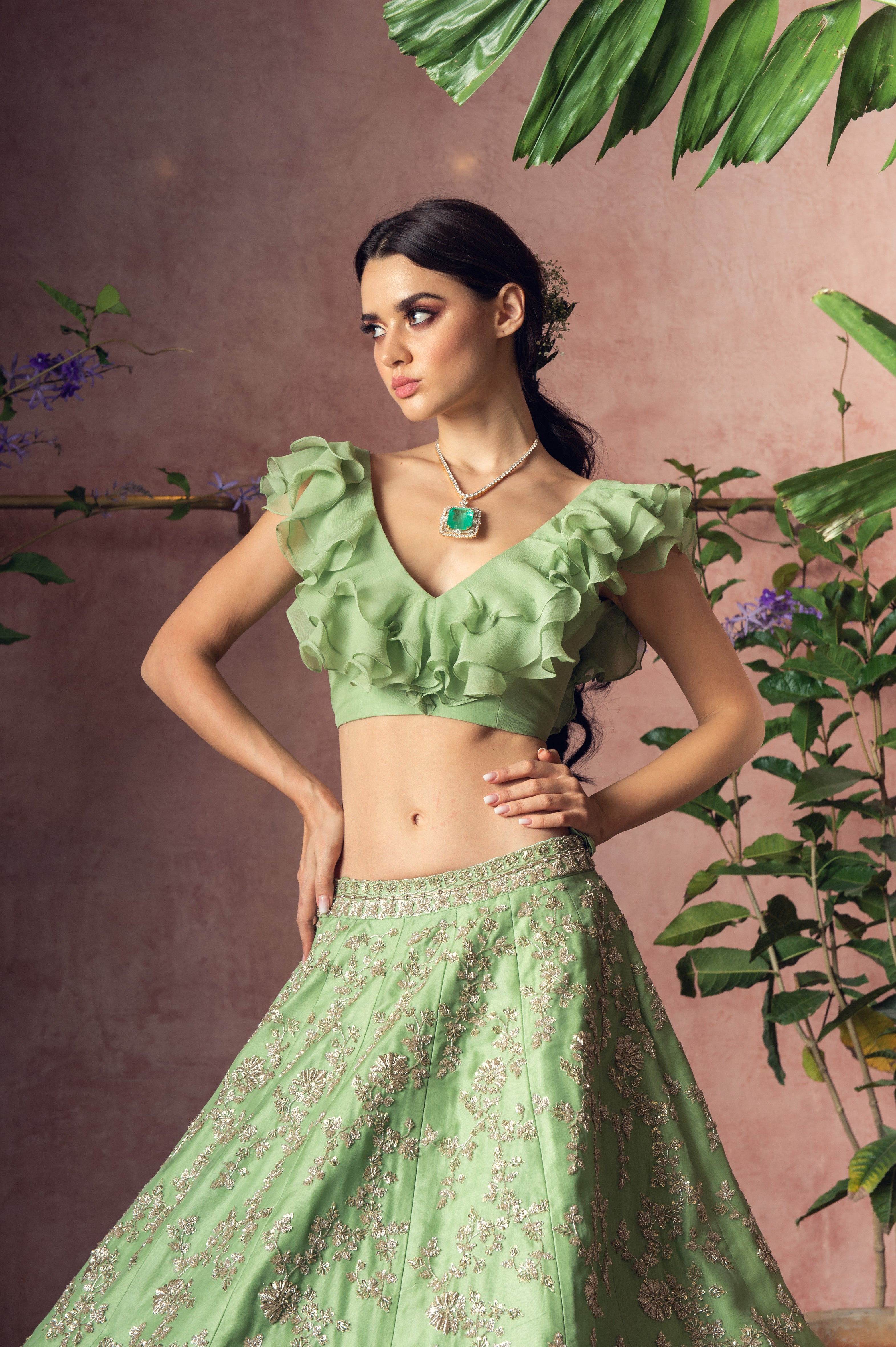 Organza Cutdana Embroidery Scallop Lehenga with Ruffle Blouse - The Grand Trunk