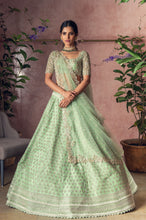 Load image into Gallery viewer, Mint green Organza Cutdana Embroidery Lehenga - The Grand Trunk