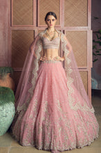 Load image into Gallery viewer, Vintage Pink Net Cutdana Embroidery Creeper Lehenga - The Grand Trunk