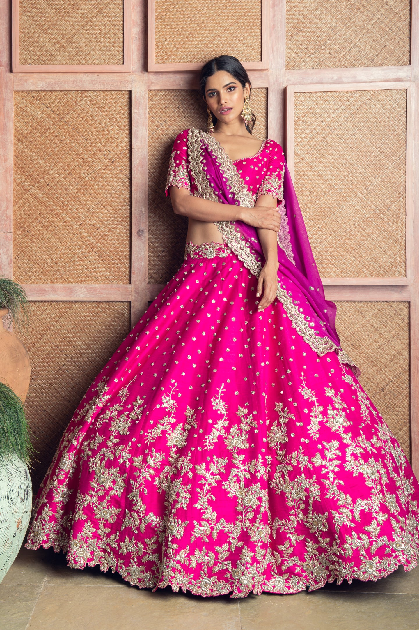 Magenta rawsilk Cutadana Cutwork Embroidery Lehenga - The Grand Trunk