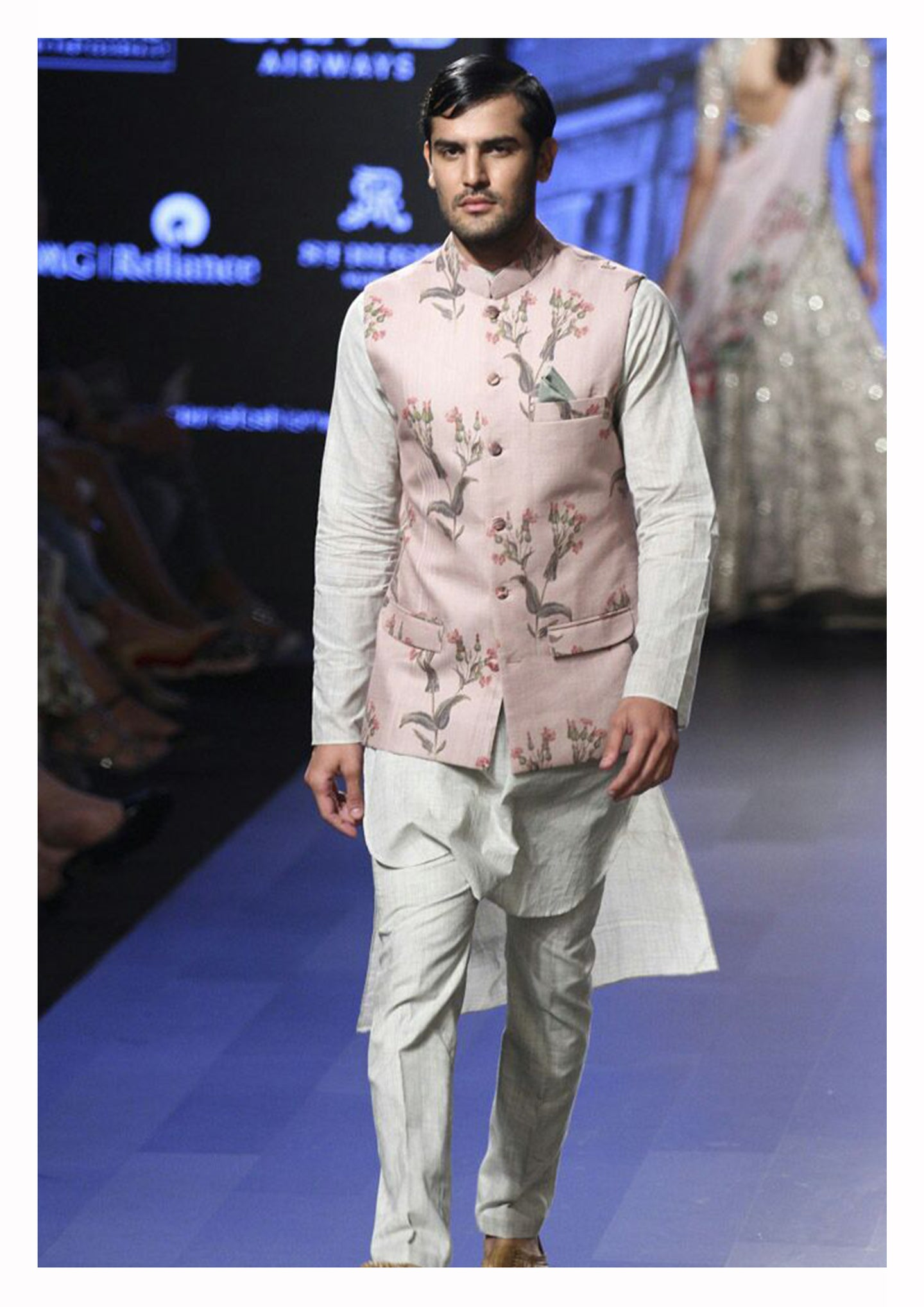 Floral Printed Bandi with Kurta and Churidar.
