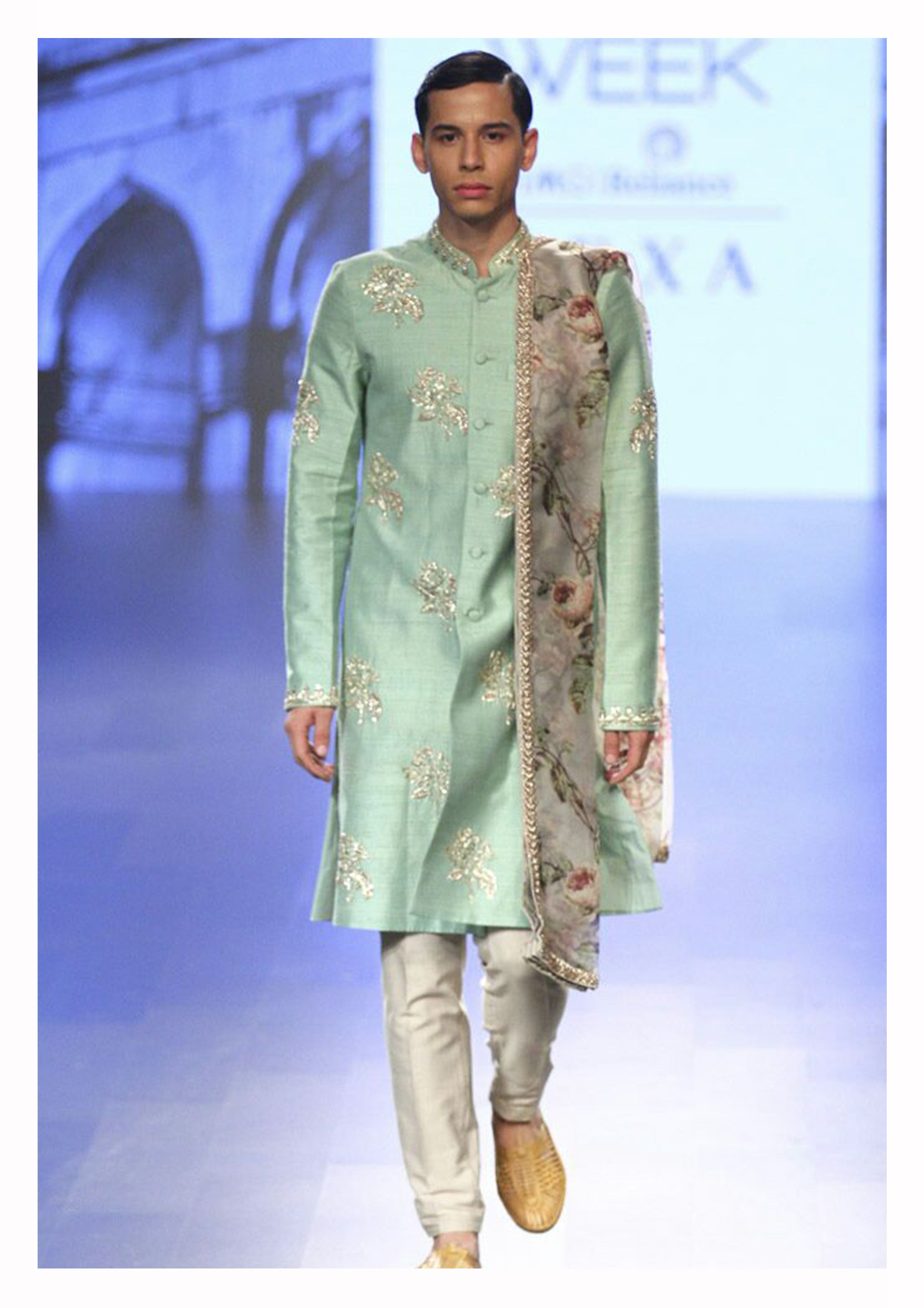 Pastel Sherwani with Floral Dupatta - The Grand Trunk