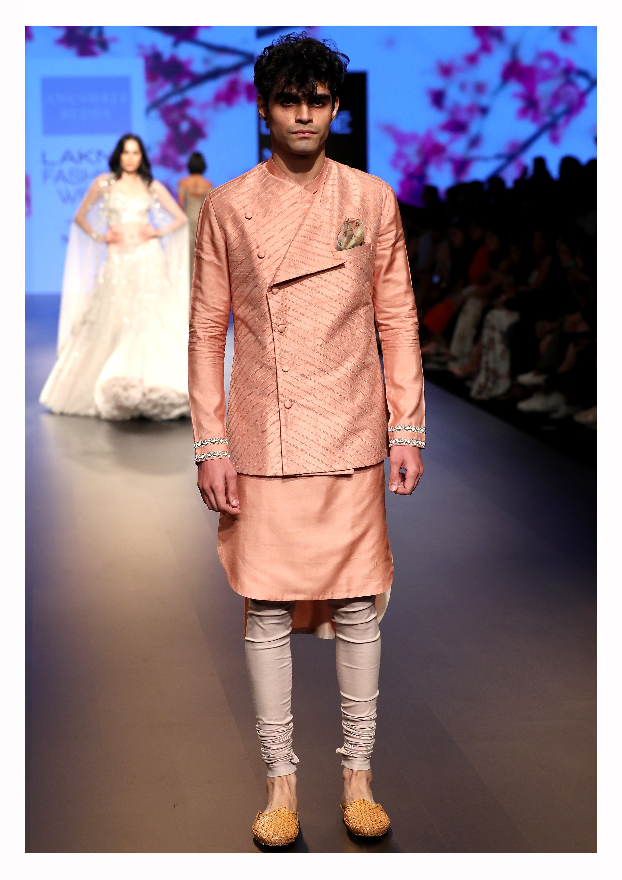 Embroidered Jacket with Kurta and Churidar - The Grand Trunk