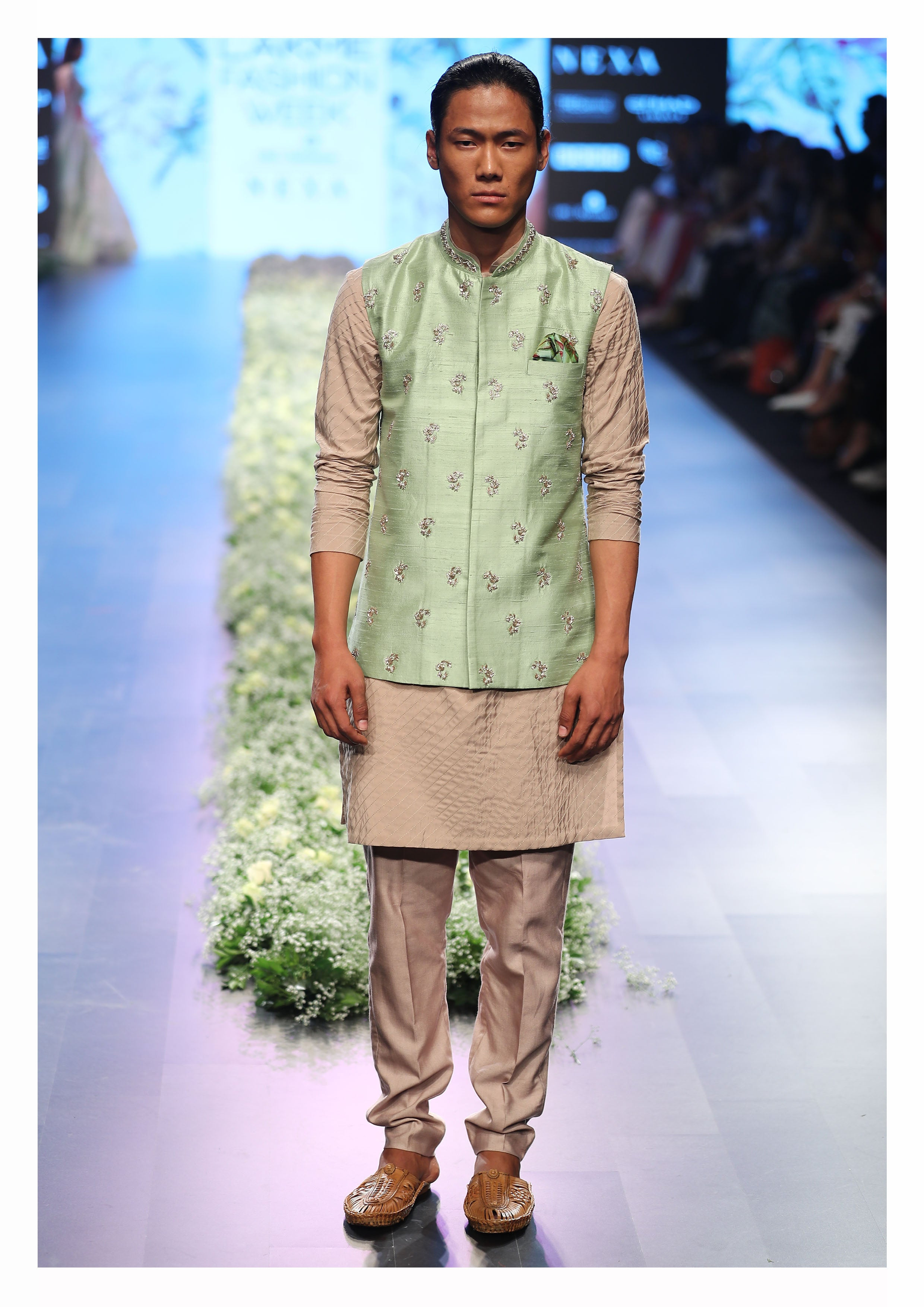 Sea Green Buta Embroidered Waistcoat & Kurta set - The Grand Trunk