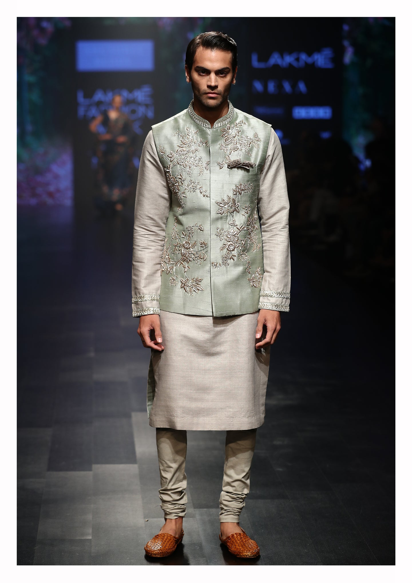 Embroidered Nehru Jacket With Kurta & Churidaar - The Grand Trunk