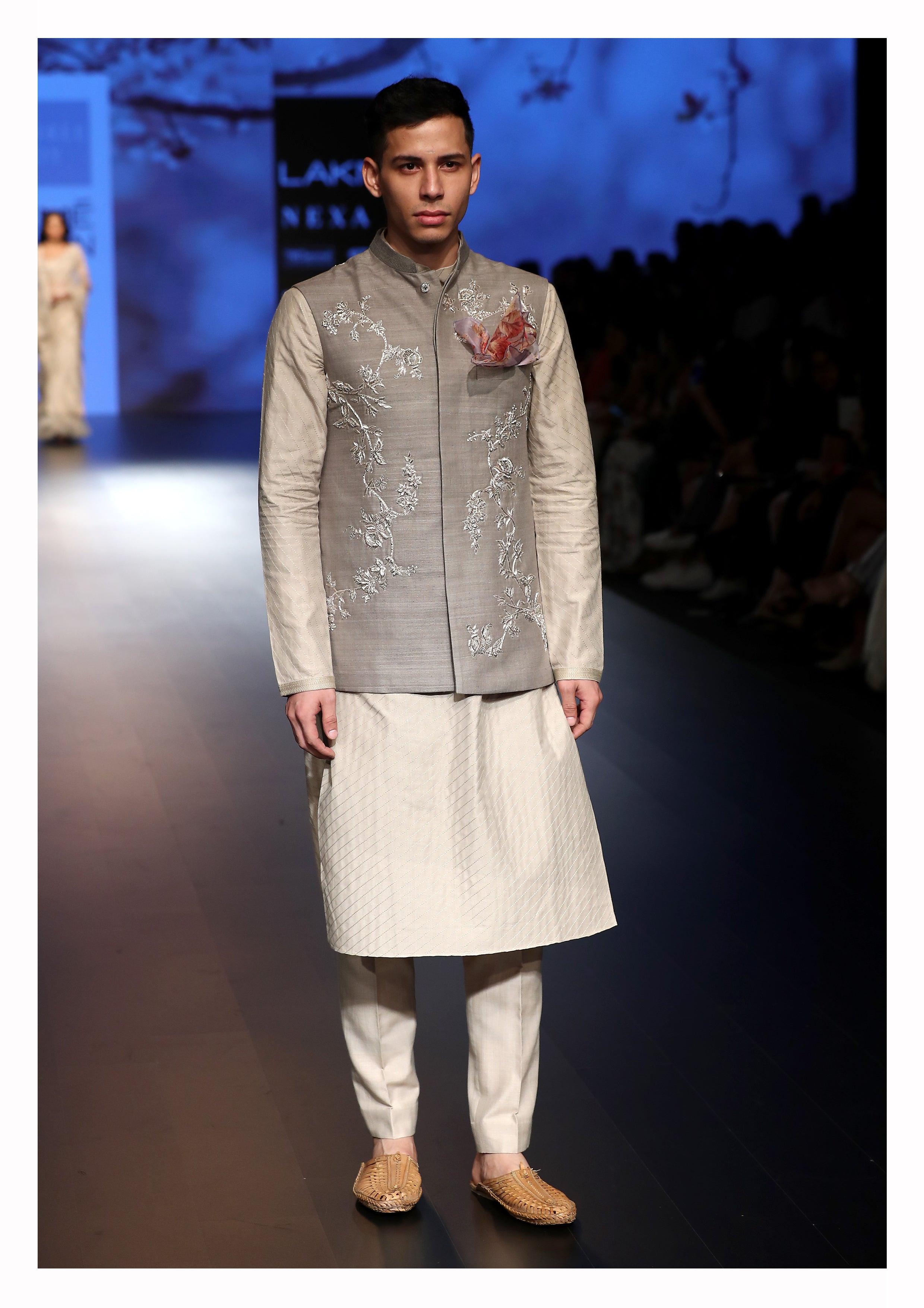 Sequin Embroidered Nehru Jacket with Kurta and Churidar - The Grand Trunk