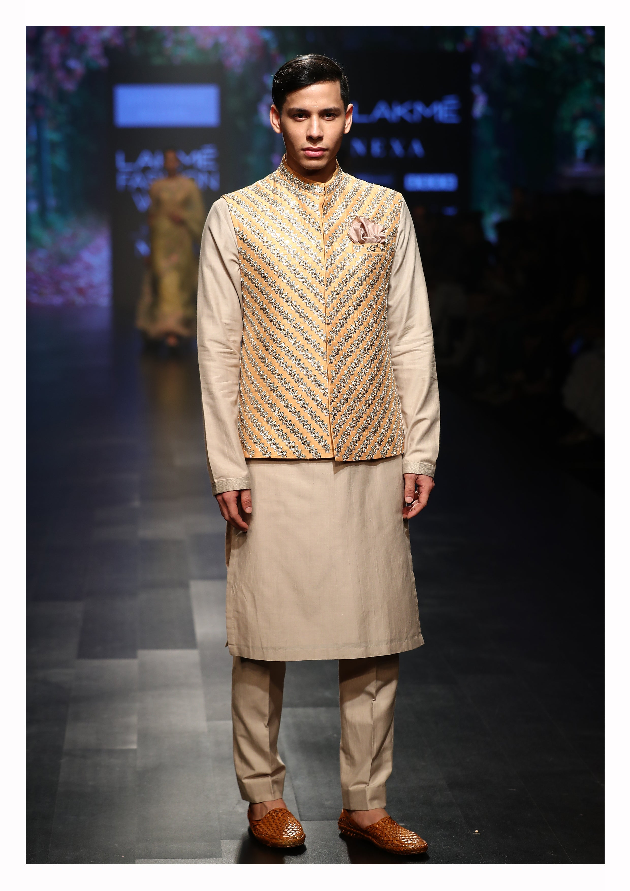 Hand Embroidered Nehru Jacket With Kurta & Churidaar
