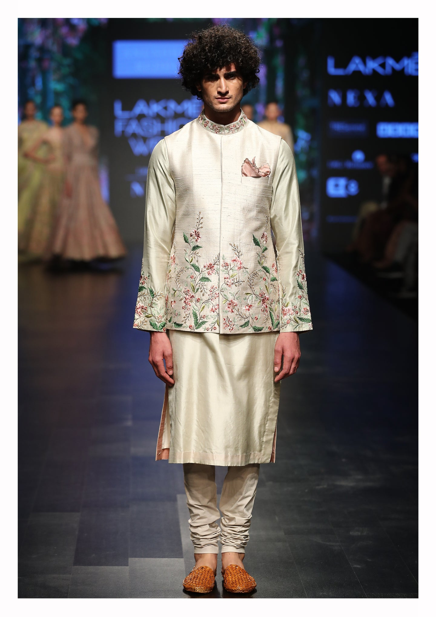 Floral Embroidered Bundi With Kurta & Churidaar - The Grand Trunk