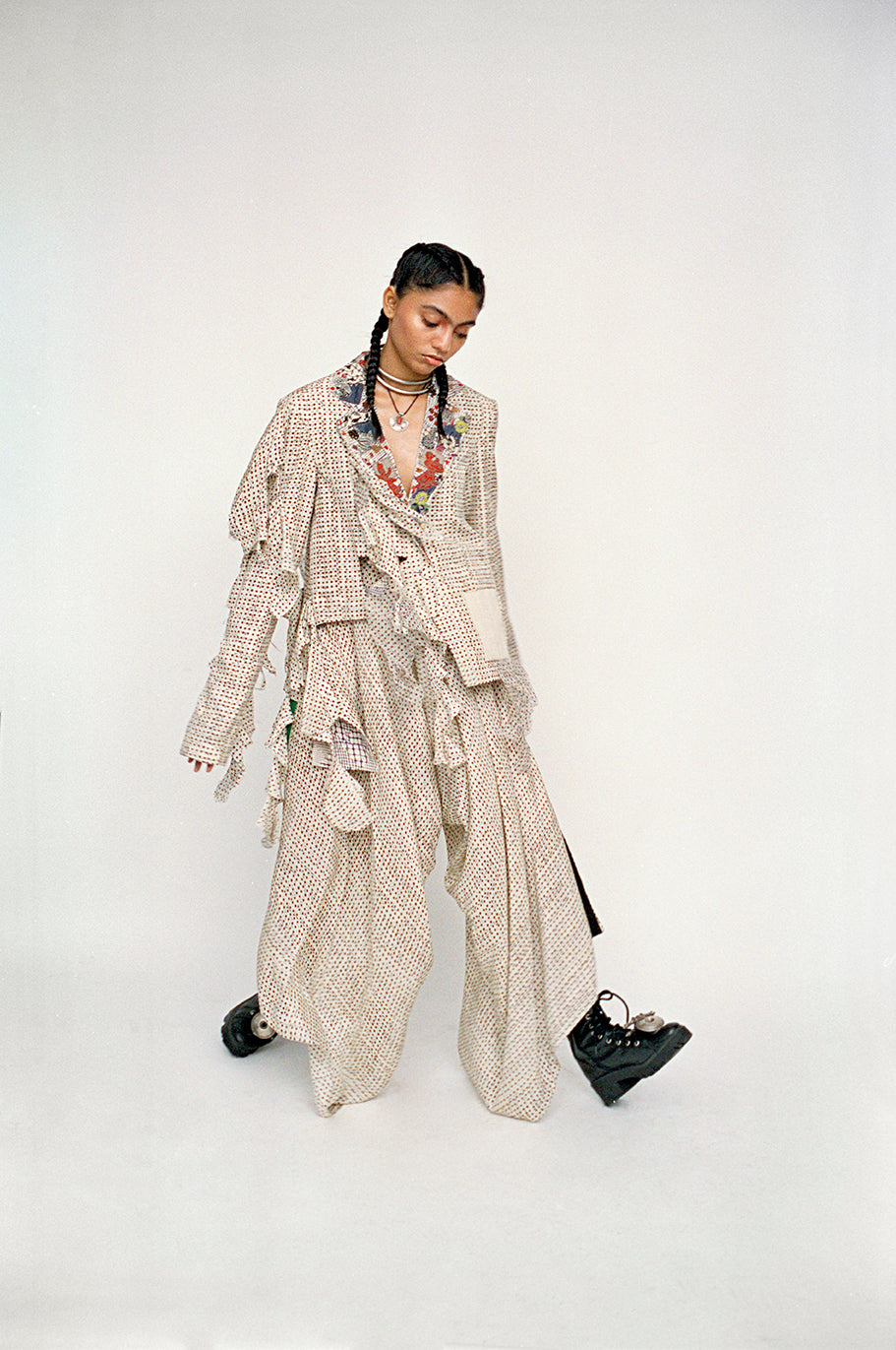 Printed deconstucted blazer+ lycra top+ draped pants - The Grand Trunk