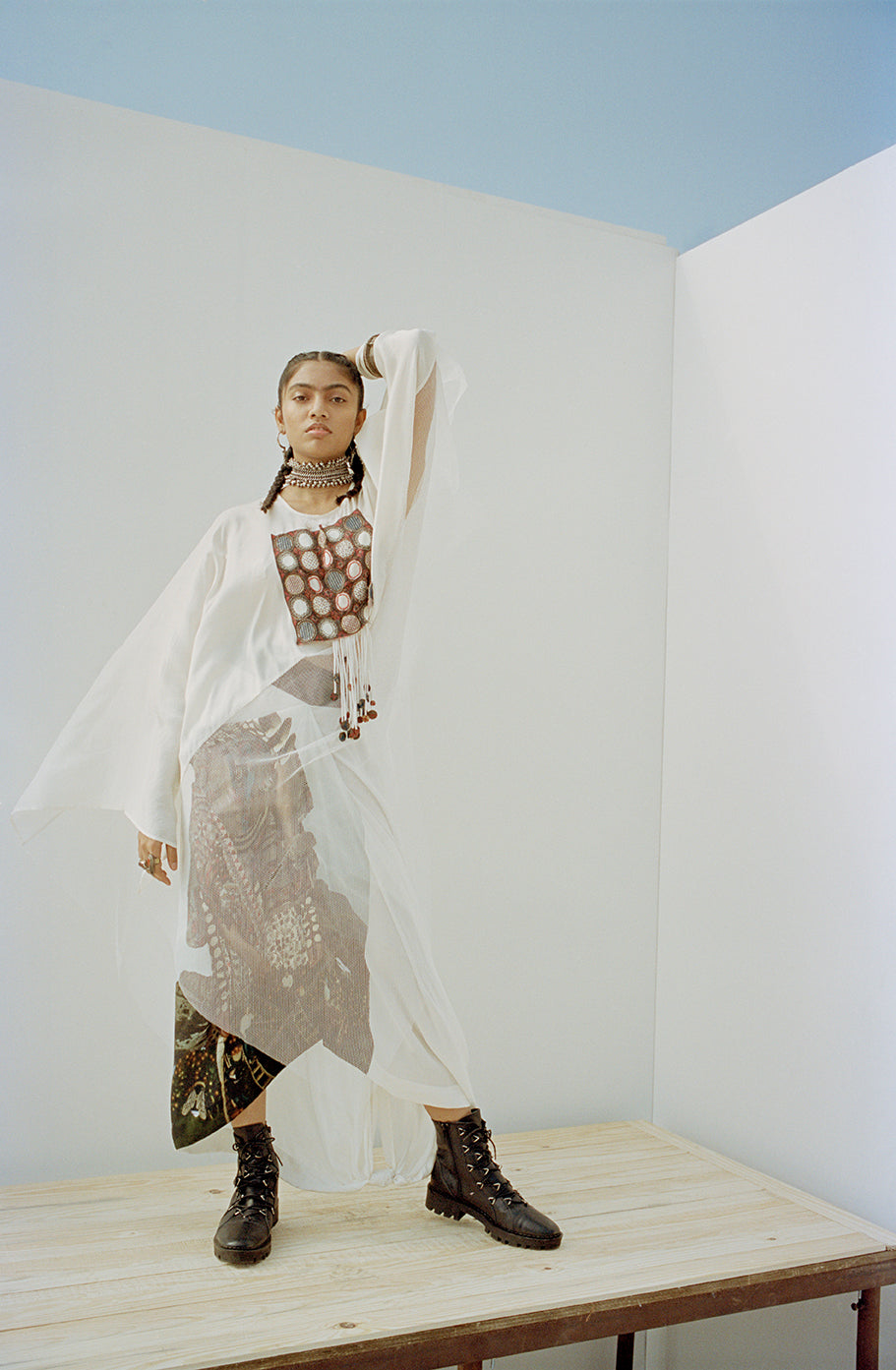 Mesh oversize kaftan with printed drape skirt - The Grand Trunk