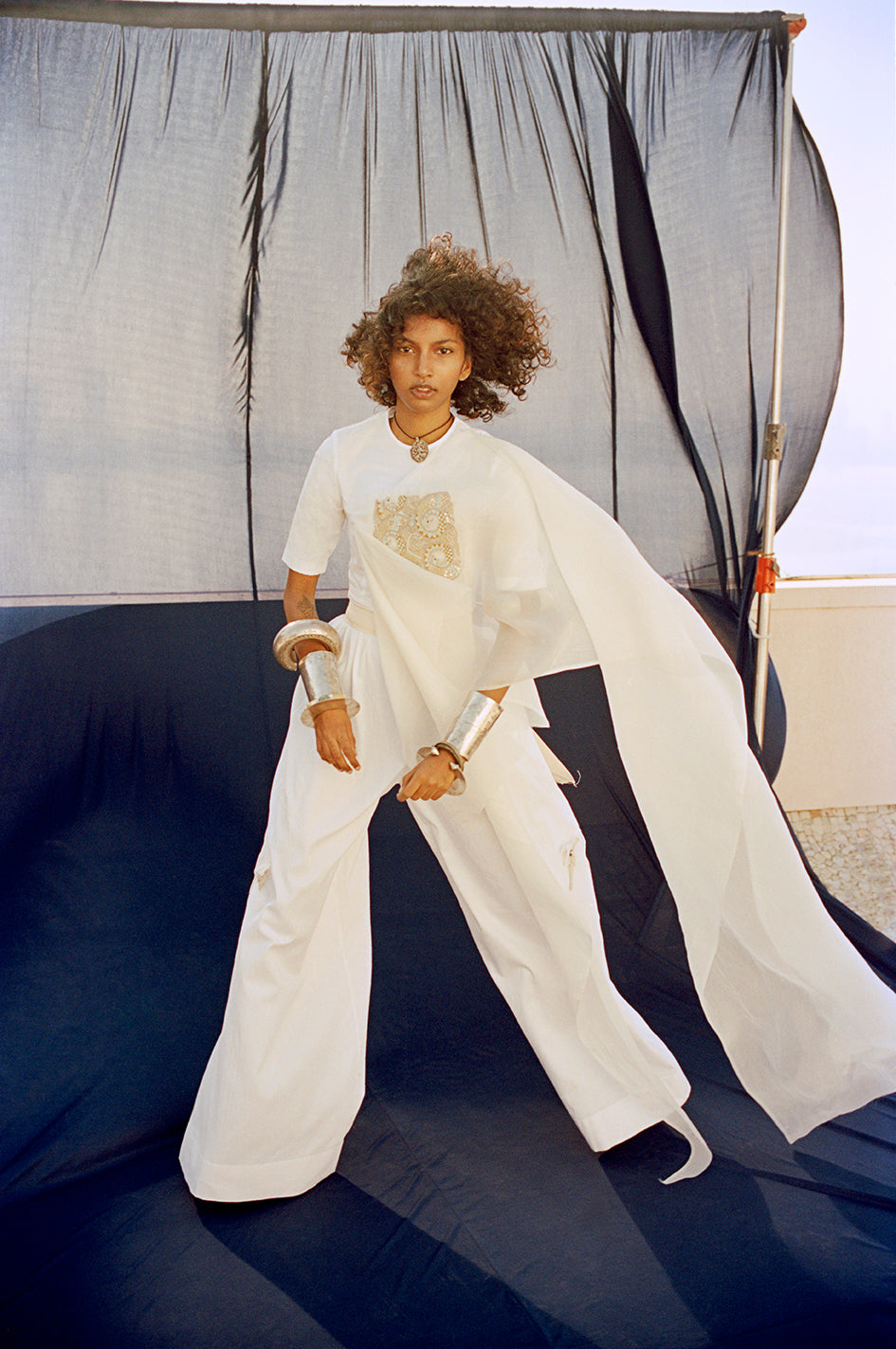 White cotton lycra + organza drape+ broad pants - The Grand Trunk