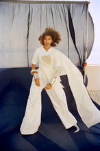 Load image into Gallery viewer, White cotton lycra + organza drape+ broad pants - The Grand Trunk