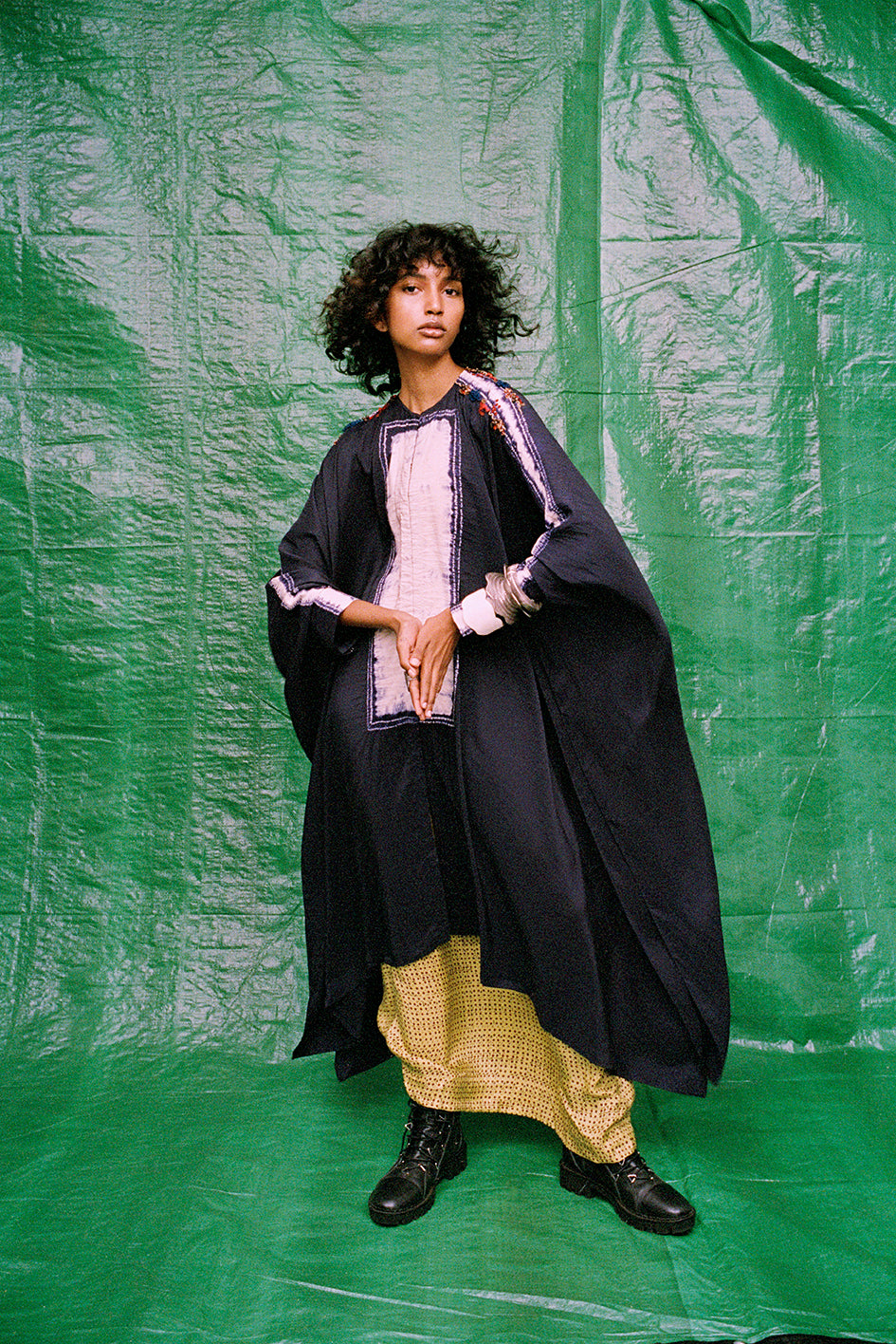 Shibori shirt cape+ printed skirt - The Grand Trunk