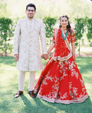 Load image into Gallery viewer, Real Bride Anubhuti and Groom William in Sabyasachi @ The Grand Trunk - The Grand Trunk