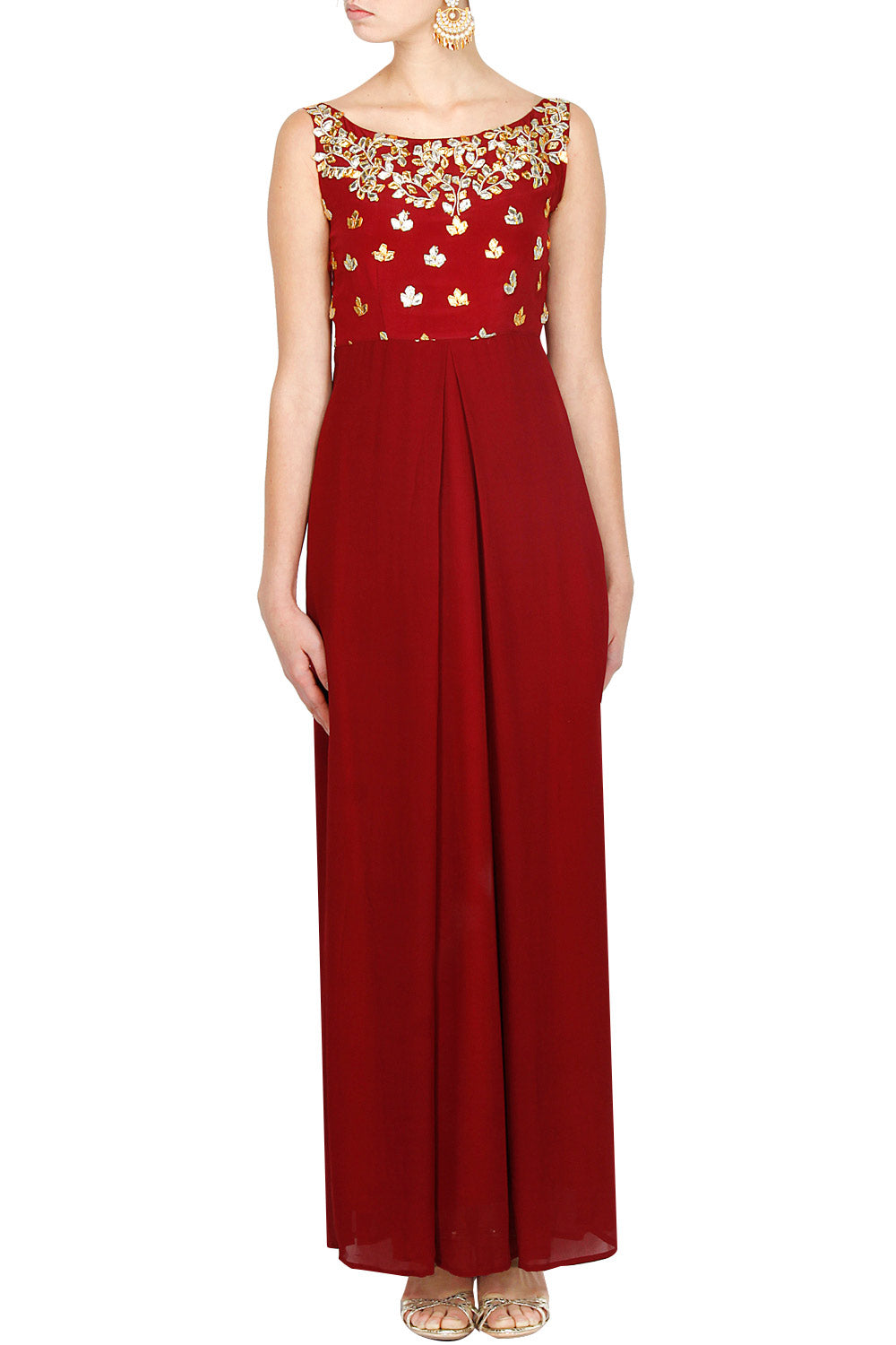 Maroon gota pati gown - The Grand Trunk