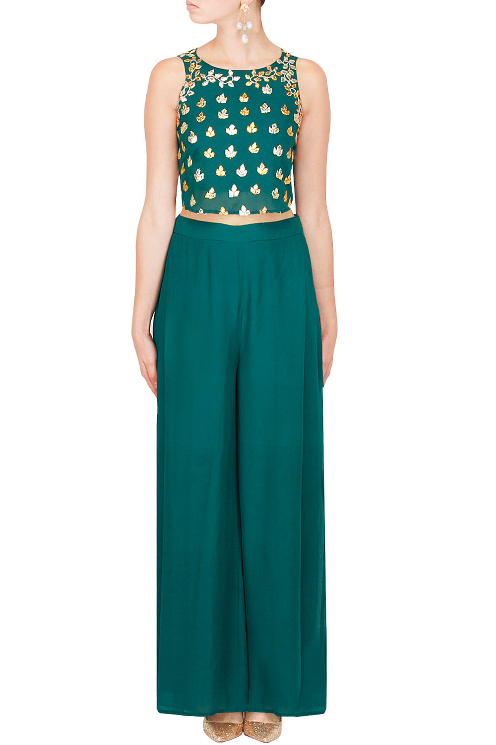 Teal Green Crop top set - The Grand Trunk