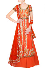 Load image into Gallery viewer, Orange jacket lengha - The Grand Trunk